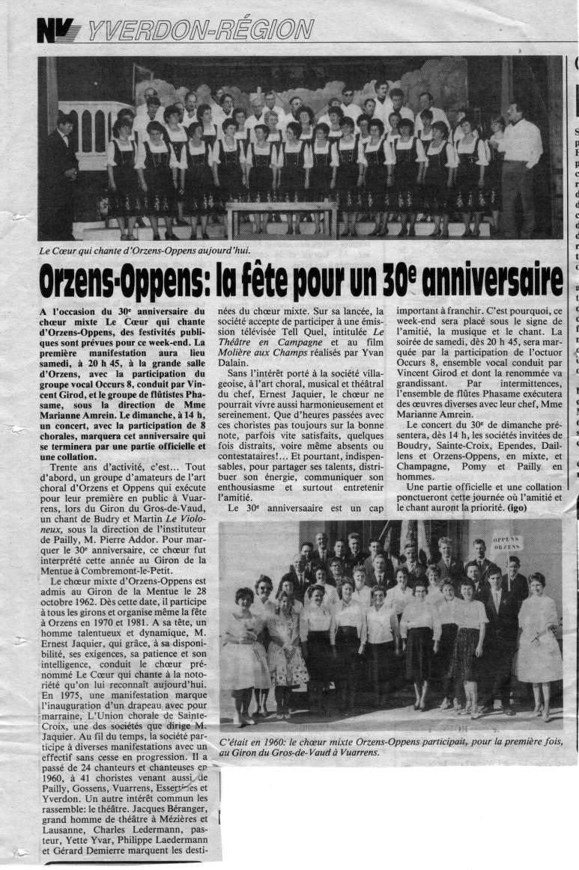 N V 30eme choeur mixte Orzens-Oppens17 mai 1990