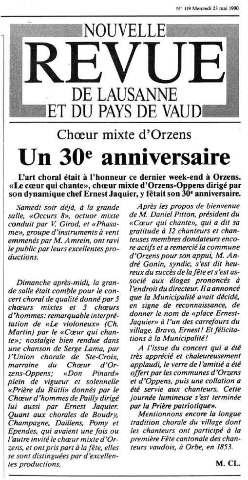 NOUVELLE REVUE DE LAUSANNE 30eme choeur mixte Orzens-Oppens 23 mai 1990