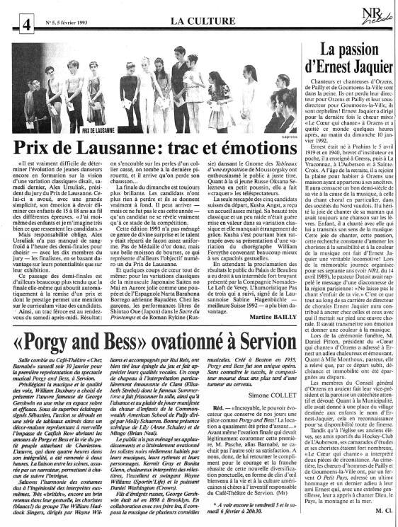 Nouvelle Revue hebdo 5 fevrier 1993 la passion d Ernest Jaquier