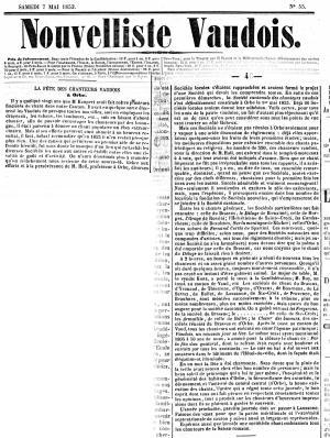 Nouvelliste Vaudois 7 mai1853 FETE DES CHANTEURS VAUDOIS ORBES