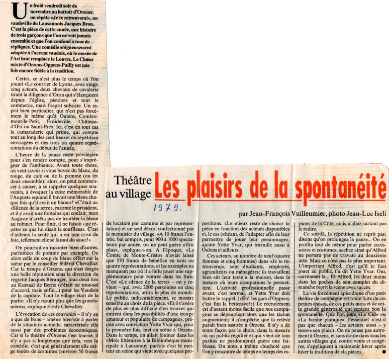 VISA Jean-Francois Vuilleumier nov 1979 - JE TE RETROUVERAI ORZENS