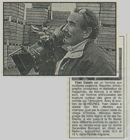 Yvan Dalain tournage Monsieur Molière aux champs - gare de Bercher 1988