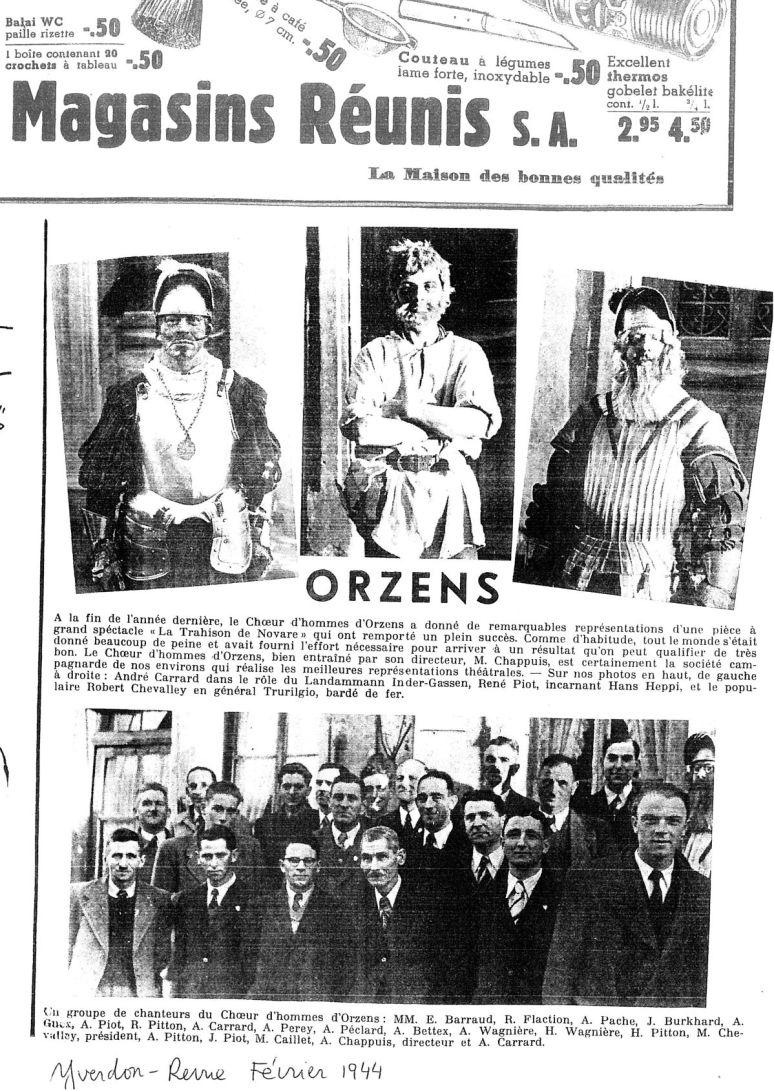 yverdon revue 1944 la trahison de Novare Orzens
