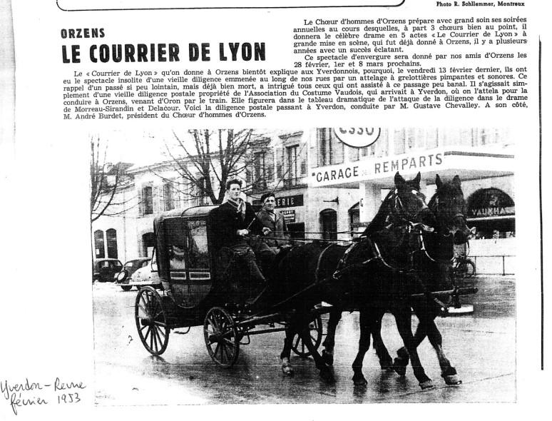 yverdon revue 1953 le courrier de Lyon Orzens
