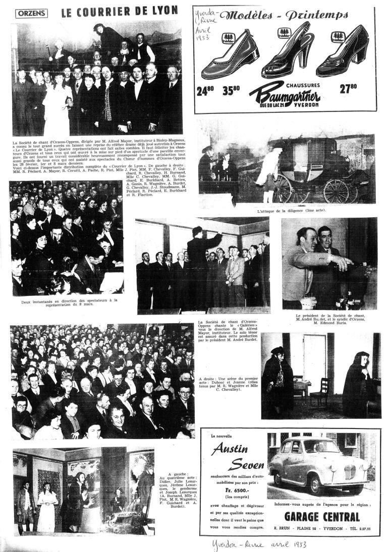 yverdon revue avril 1953 le courrier de Lyon Orzens