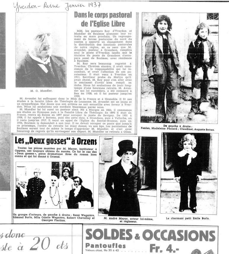 yverdon revue janvier 1937 les deux gosses Orzens