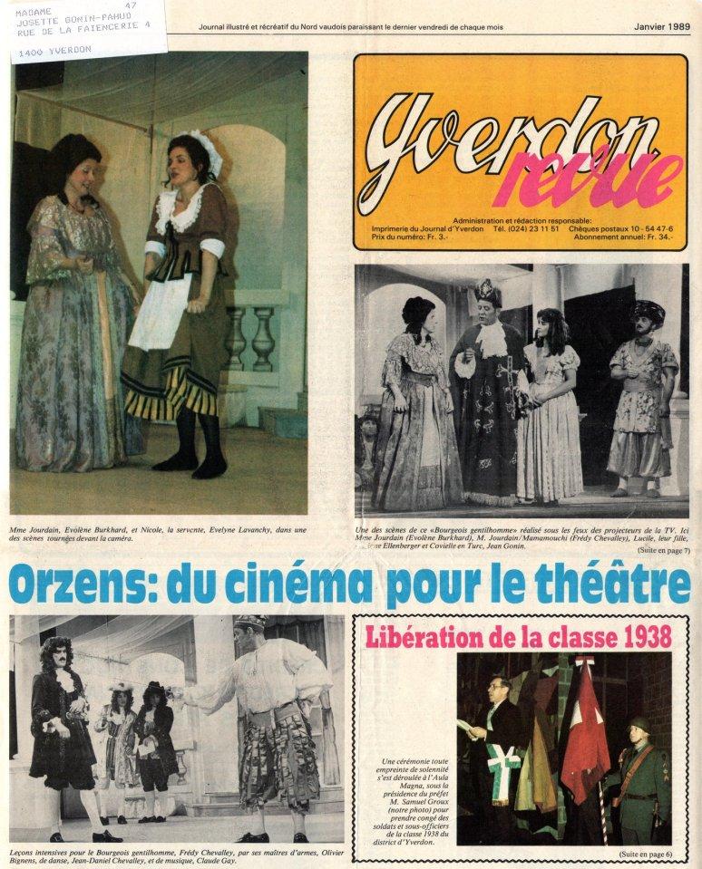 YVERDON-REVUE janvier 1989 PAGE 1 LE BOURGEOIS GENTILHOMME Orzens