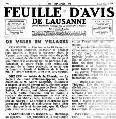 Feuille d Avis de Lausanne 08 janv 1944 La trahison de Novare ORZENS