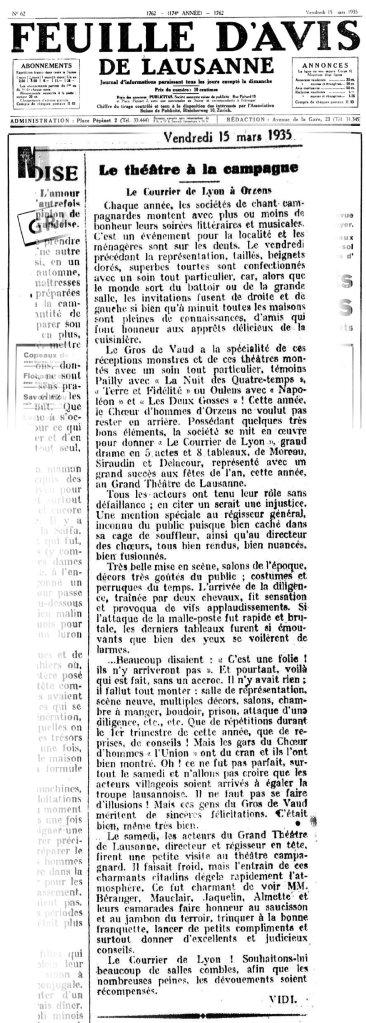Feuille d Avis de Lausanne 15 mars 1935 Le Courrier de Lyon à ORZENS