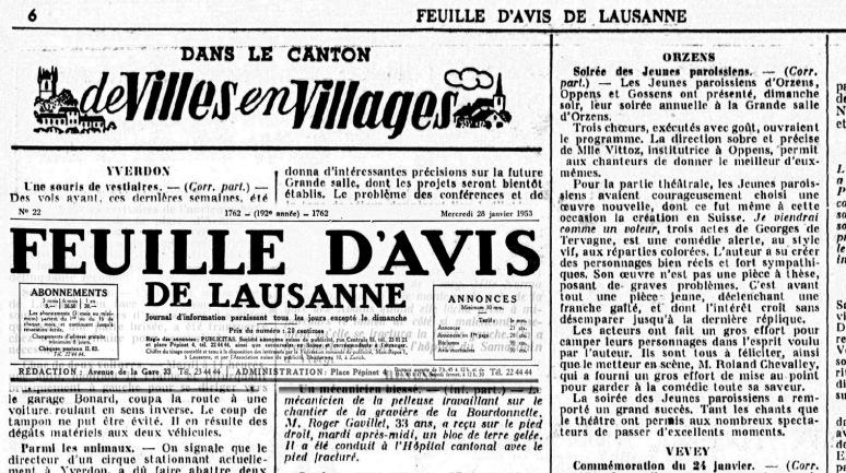FEUILLE D AVIS DE LAUSANNE 28 janv 1953 Je viendrai comme un voleur Orzens