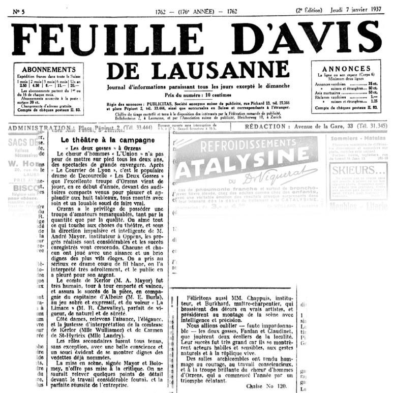 FEUILLE D AVIS DE LAUSANNE 7 janvier 1937 Les deux gosses ORZENS