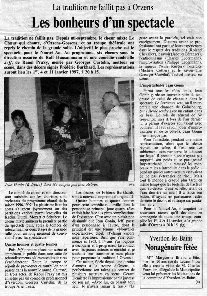 journal du Nord vaudois ig Les bonheurs d un spectacle Orzens decembre 1996