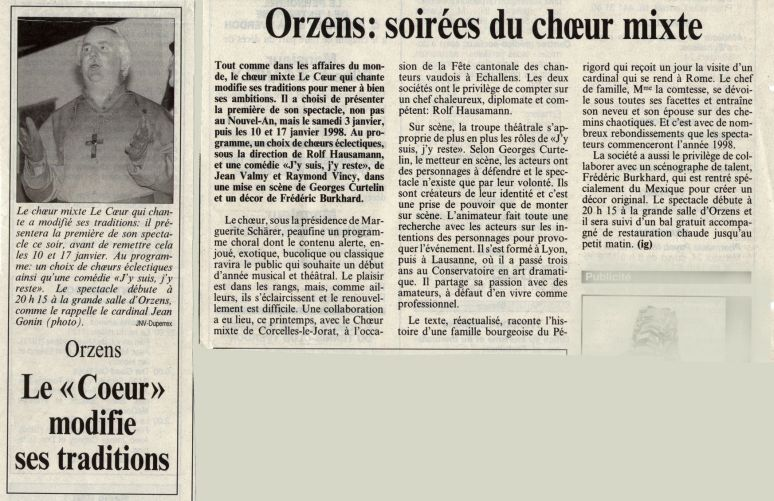 journal du Nord vaudois J y suis j y reste Orzens 3 janvier 1998