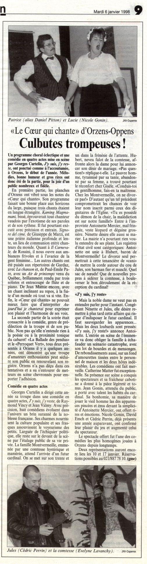 journal du Nord vaudois J y suis j y reste Orzens 6 janvier 1998