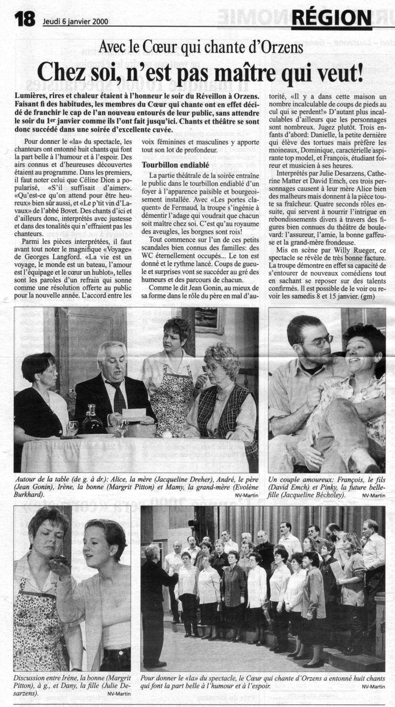 journal N V Les portes claquent Orzens 6 janvier 2000