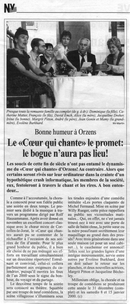 journal N V Les portes claquent Orzens decembre 1999