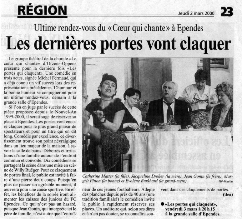 journal N V Les portes claquent Orzens_Ependes 2 mars 2000