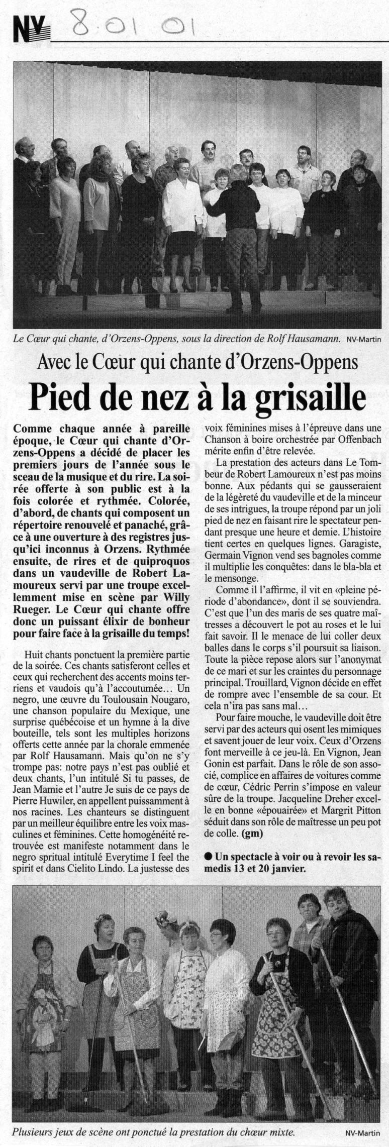 JOURNAL NV 08 janvier 2001 LE TOMBEUR Orzens