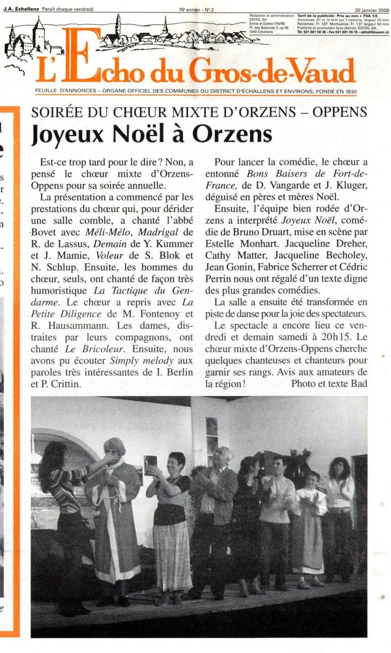 L Echo du Gros-de-Vaud Joyeux Noel Orzens 20 janvier 2006