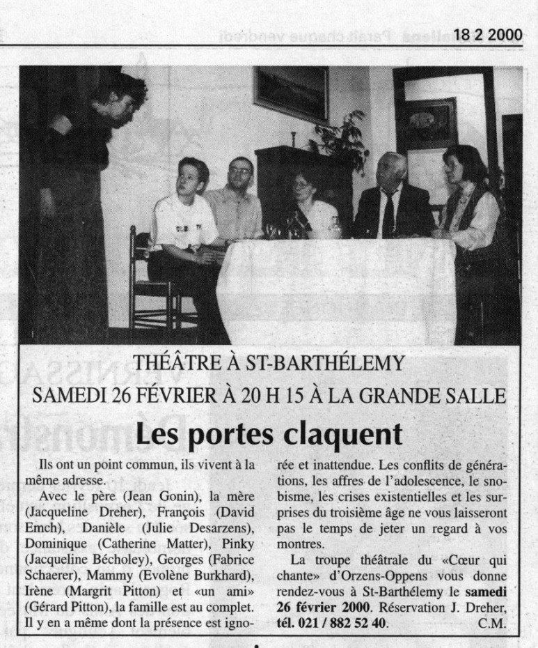 L Echo du Gros-de-Vaud Les portes claquent Orzens_St-Barthelemy 18 février 2000