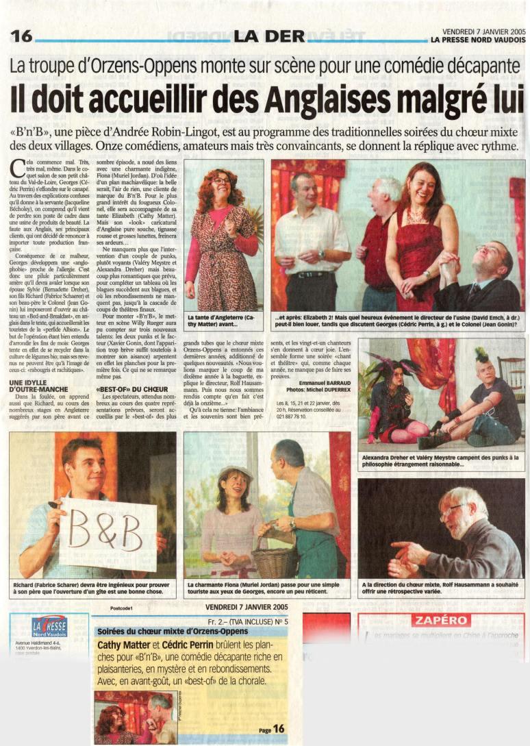 la presse N V B and B Orzens 7 janvier 2005