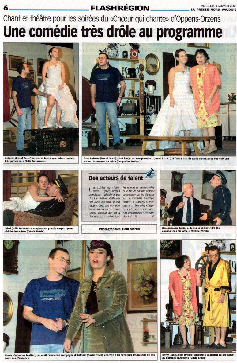 la presse N V Coin de non retour Orzens 8 janvier 2003