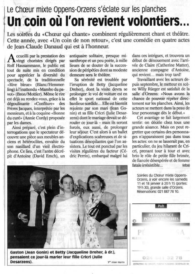 la presse N V Coin de non retour Orzens janvier 2003