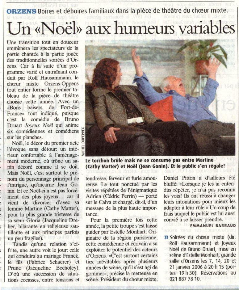 la presse N V Joyeux Noel Orzens janvier 2006 a