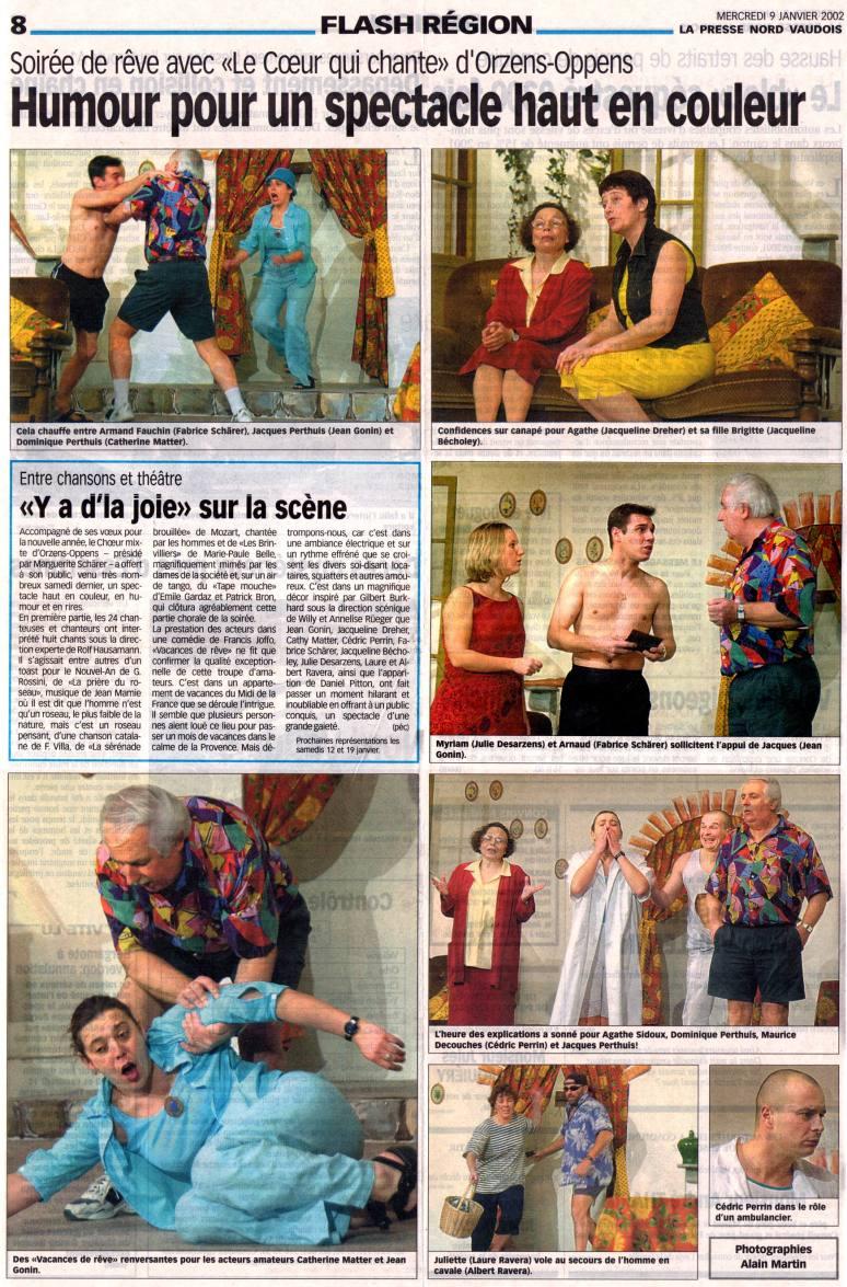 la presse Nord Vaudois Vacances de reve Orzens 9 janvier 2002