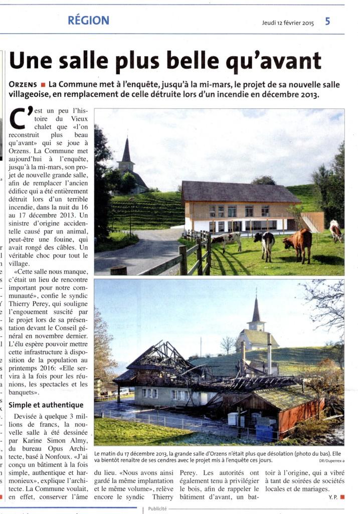 La Région Nord vaudois 12 fevrier 2015 reconstruction Orzens