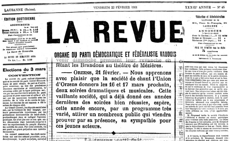 LA REVUE 22 fevrier 1901 soiree theatrale ORZENS