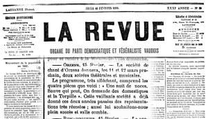 LA REVUE DE LAUSANNE 16 fevrier 1899 soiree theatrale ORZENS