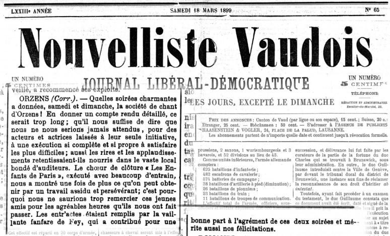 Nouvelliste Vaudois 18 mars 1899 soiree theatrale ORZENS