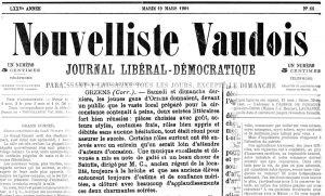 Nouvelliste Vaudois 19 mars 1901 soiree theatrale ORZENS