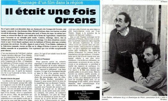 Journal du Nord vaudois 3 janvier 1989 Monsieur Moliere aux champs Orzens