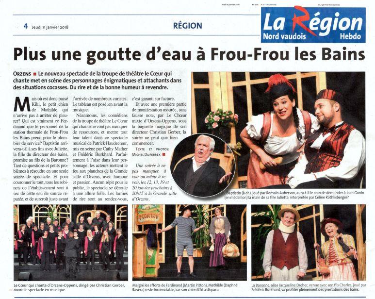 LAREGION jeudi 11 janvier 2018 FROU-FROU LES BAINS