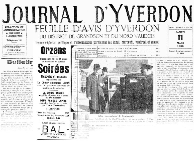 Journal d Yverdon 11-03-1933 ORZENS La corde cassee - Deux faeux lapins