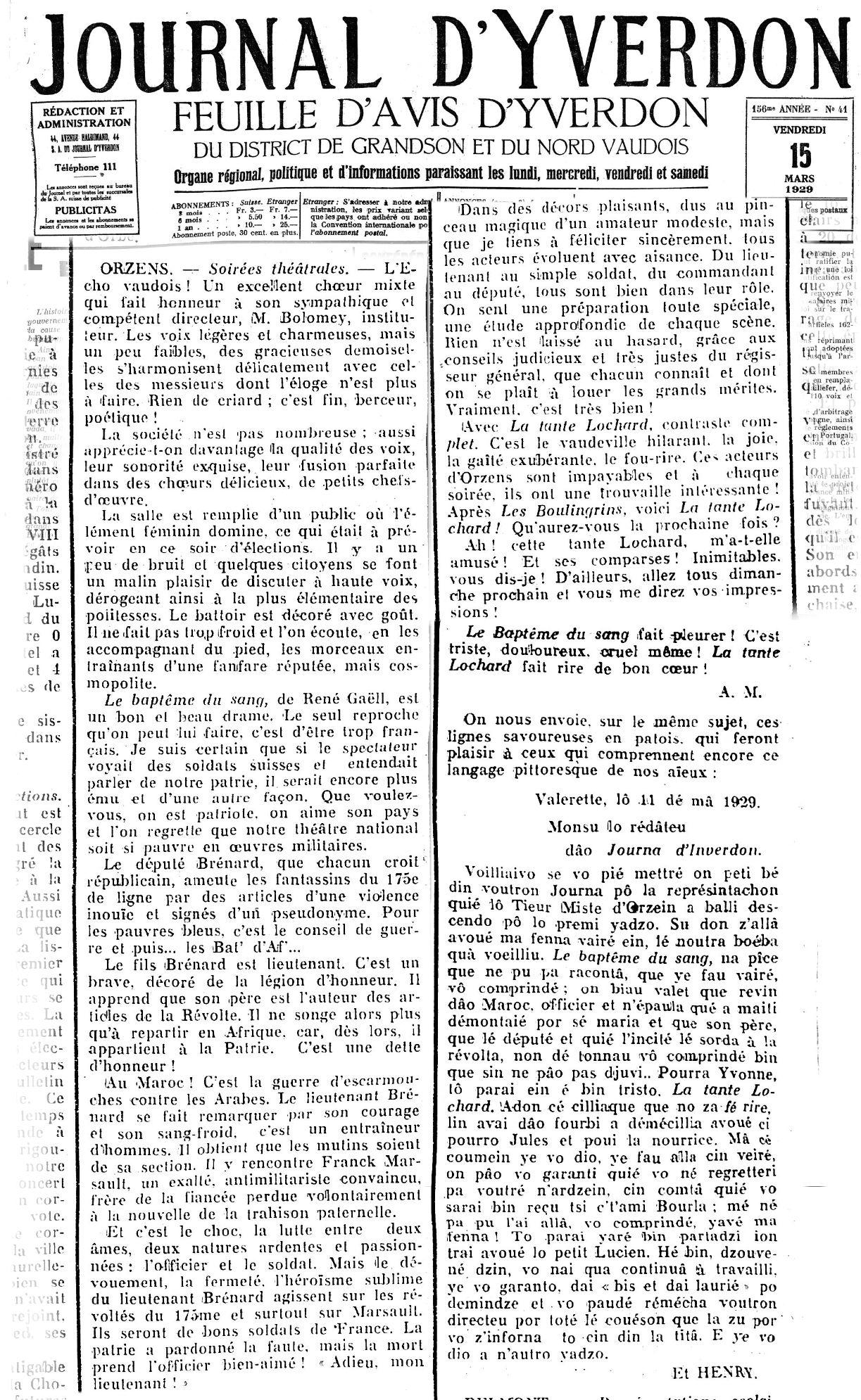 Journal d Yverdon 15-02-1929 ORZENS Le bateme du sang