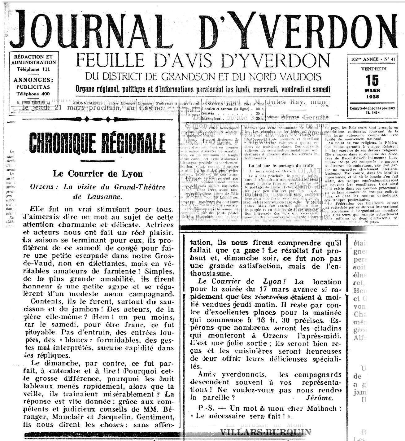Journal d Yverdon 15 mars 1935 LE COURRIER DE LYON