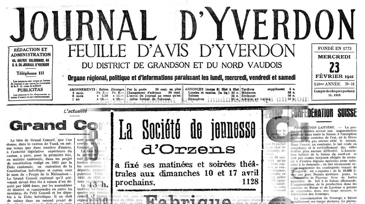 Journal d Yverdon 23-02-1921 JEUNESSE ORZENS soiree theatrale