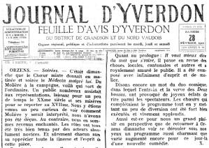Journal d Yverdon 28-02-1920 ORZENS Medecin malgre lui