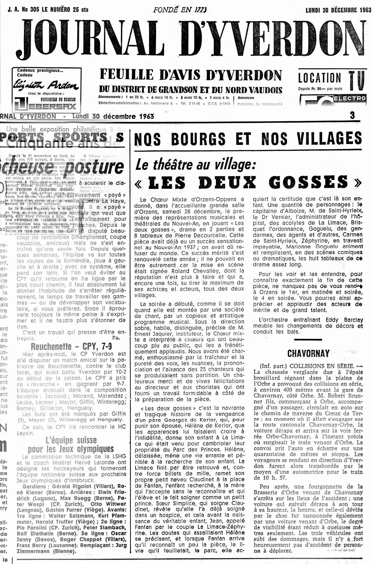 Journal d Yverdon 30 décembre 1963 Les deux Gosses