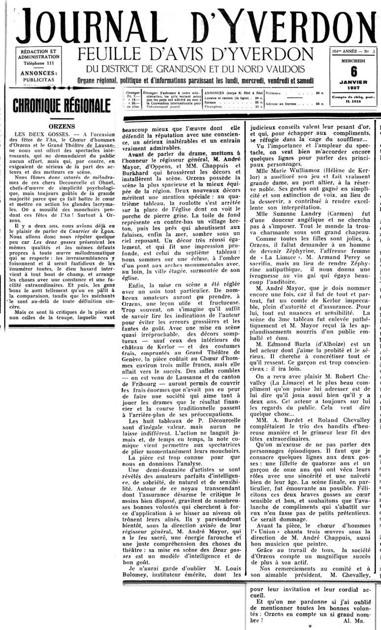 Journal d Yverdon 6 janvier 1937 ORZENS Les deux gosses