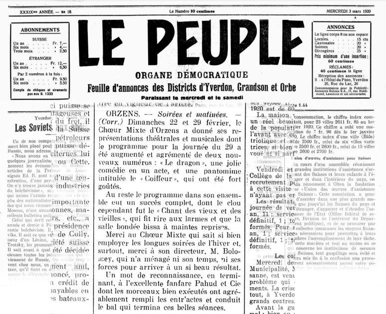 LE PEUPLE 03-03-1920 ORZENS Medecin malgre lui