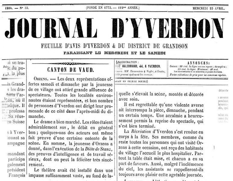 Journal d Yverdon 23-04-1884 ORZENS La Diete de Stanz