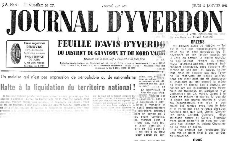 JOURNAL D YVERDON Cet homme sort de prison 12 janvier 1961