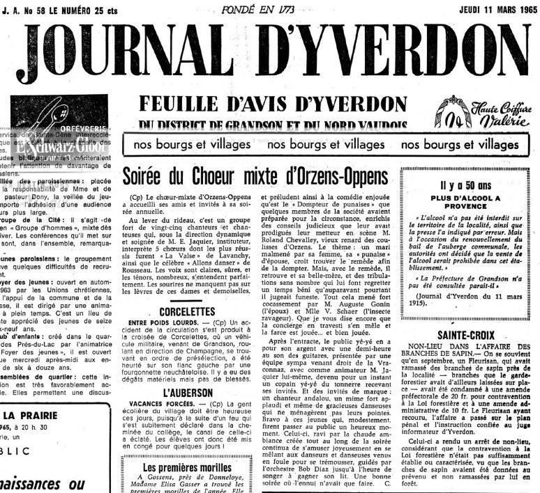 JOURNAL D YVERDON Dompteur de punaises 11 mars 1965