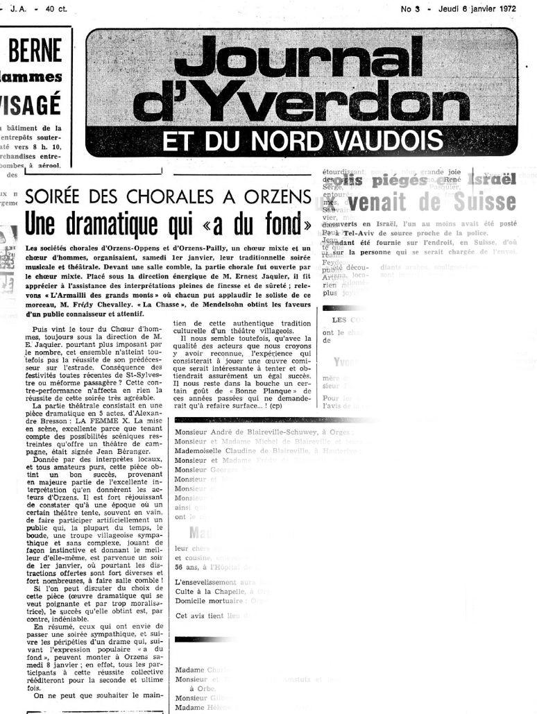 JOURNAL D YVERDON La femme X 06 janvier 1972