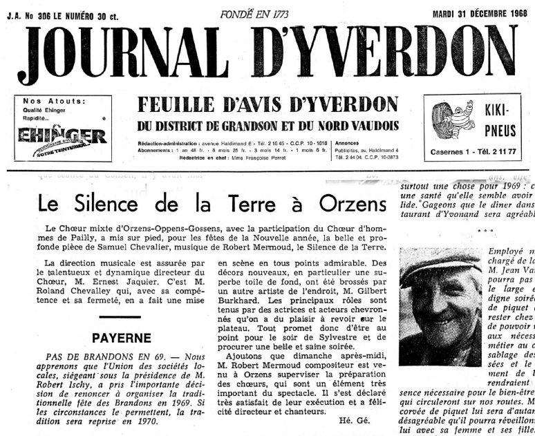 JOURNAL D YVERDON Le Silence de le Terre 31 decembre 1968