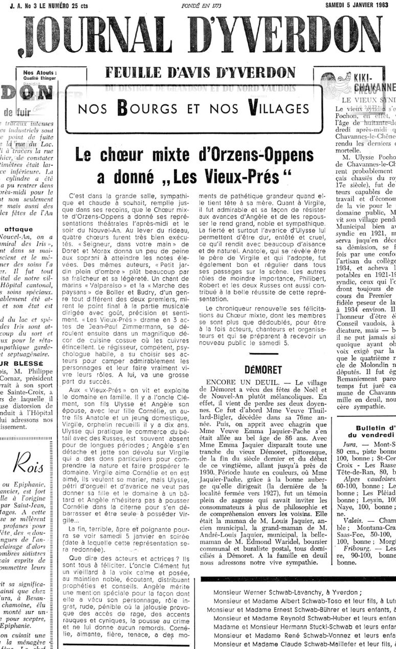 JOURNAL D YVERDON Les Vieux-Pres 5 janvier 1963